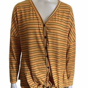 Andree Front Tie Mustard Striped Button Down